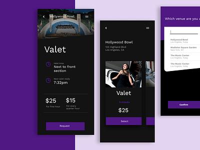 Valet parking ux app product interface ui dark parking app limo uber parking valet