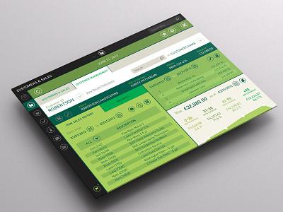 Accounting App - iPad & Desktop Screens accounting stats customers green flat grey ipad desktop