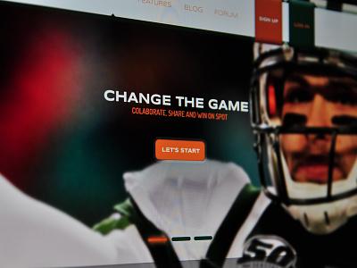 Landing Page Sportsapp sport app landing page ui design webdesign soccer header navigation button ui