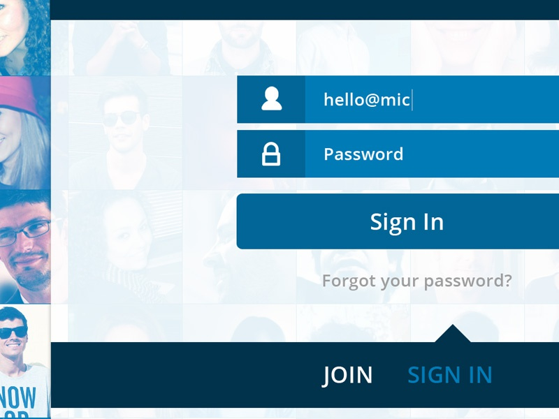 Sign In Screen sign in design flat style ui interface clean blue