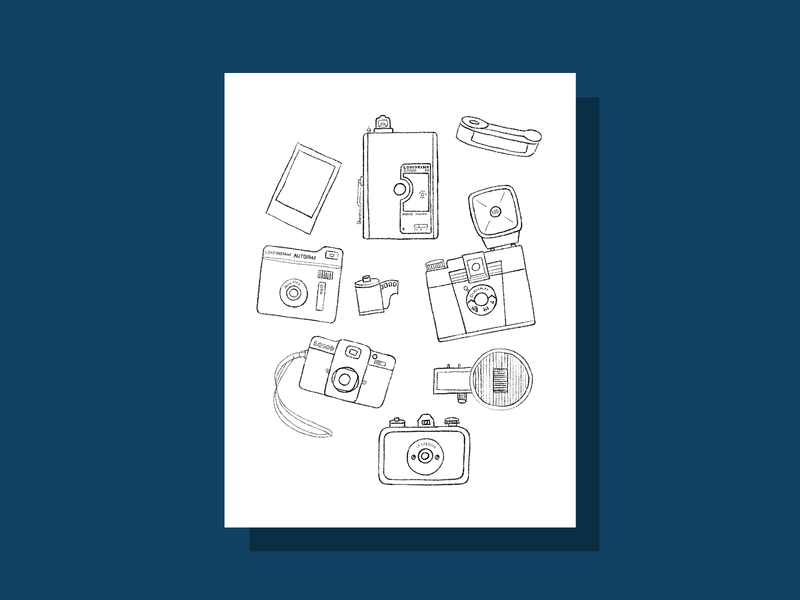 Free Coloring Page: Design Your Own Film Cameras