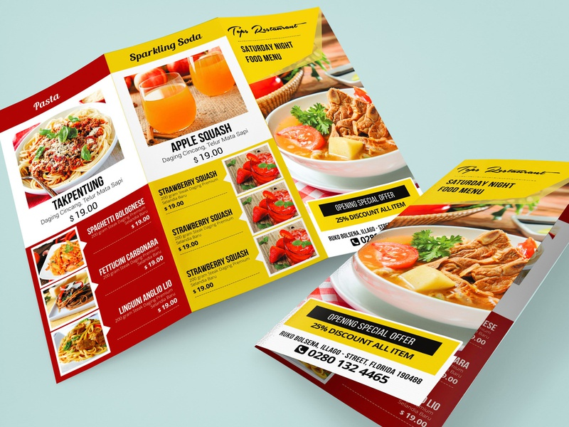 Restaurant Menu - Food Menu Template illustration advertisement agency corporate advertising corporate business flyer trifold menu trifold design trifold broshure restaurant menu restaurant psd pizza trifold menu pizza menu menu food menu food flyer elegant clean