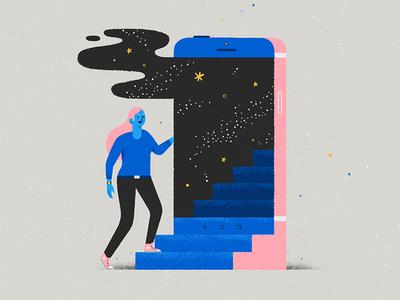 Stairway to somewhere else vector star cloud smoke skull dimension character universe space stairway door phone