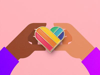 Love is Love enamel pin hand voteyes heart rainbow marriage speak-up love equality