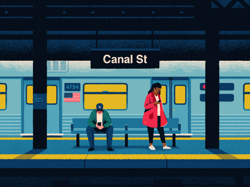 NYC subway train usa phone subway nyc landscape texture city character illustration flat