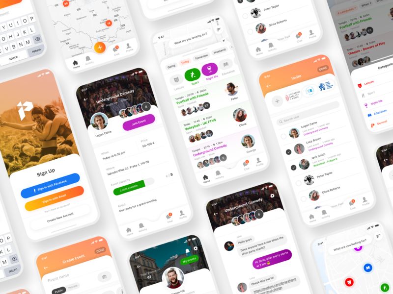 Student activities App orange vector figma color map students uxdesign product iphone ios visual design product design graphics ux ui mobile design clean app