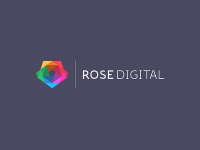 Rose Digital brand color rose flower branding logo design logo