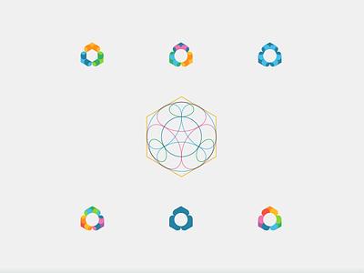 Hexagon + circles isometric grid color identity branding logo