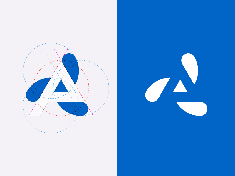A logo grid circle triangle geometry logo blue white negative space