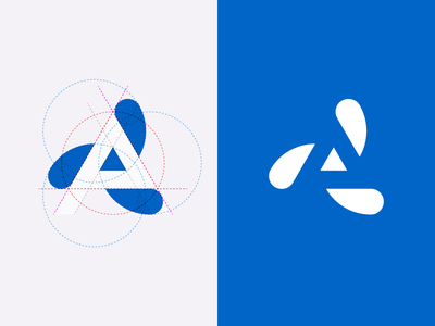 A logo grid circle triangle geometry logo blue white negative space