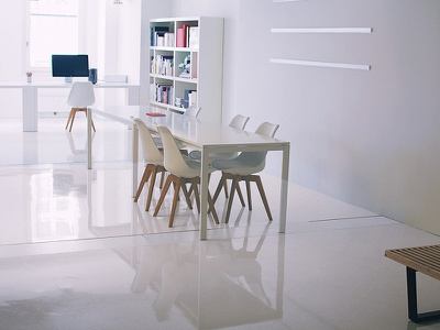 Milestone  wood white color minimalist workspace apple desk office design swiss