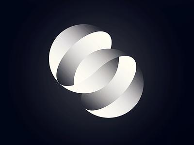 Spherical gradient initial circle branding logo