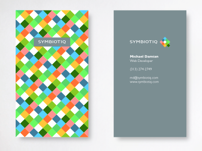 Symbiotiq business card typography branding stationery