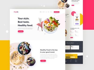 Foodie - Food Delivery Concept typography ux landing page design landingpage design website user interface user experience ui ux ui