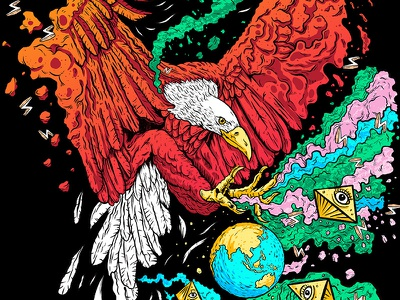 Drop The World procreate power eagle vibrant colors illustration