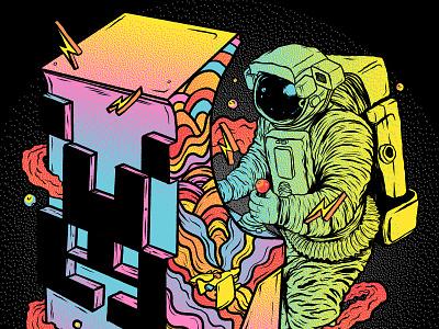 Space Arcade vibrant colors procreate illustration space art astronaut space