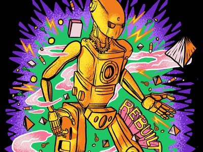 Rebuilt robot patterns procreate vibrant colors illustration