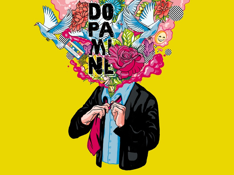 Dopamine poster brand happiness psychedelic art psychedelic design acid abstract vibrant colors procreate illustration