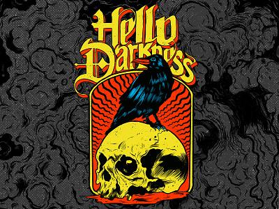 Hello Darkness songlyrics raven skull tshirt threadless illustration gothic heavymetal metal darkart