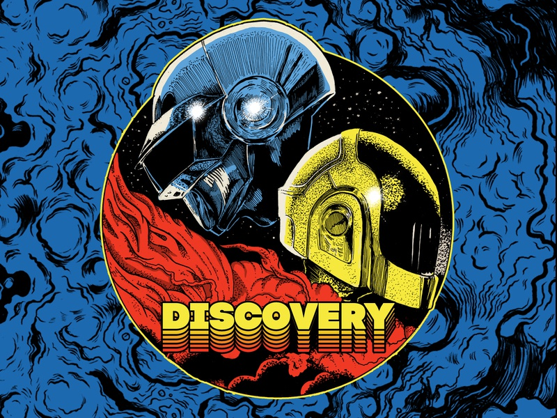 Discovery space design astronaut acid patterns abstract vibrant colors procreate illustration daftpunk
