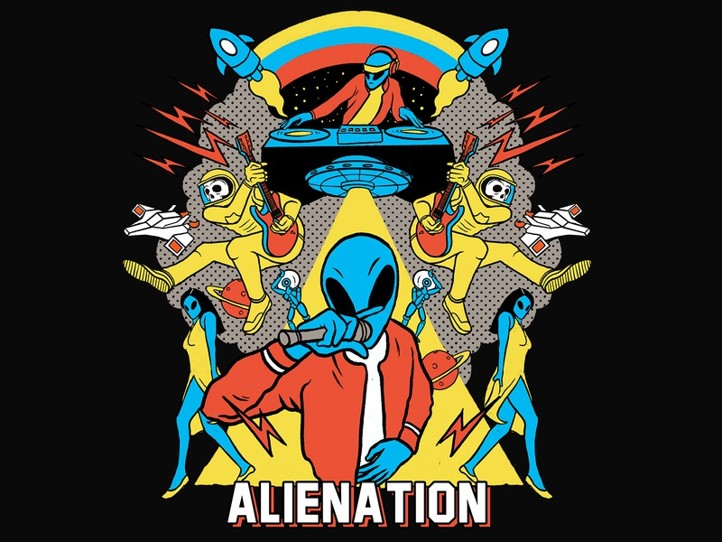 Alienation skull design tshirt space psychedelic patterns abstract vibrant colors procreate illustration