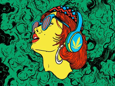 BiNaural psychedelic acid design patterns abstract vibrant colors procreate illustration marijuana cannabis
