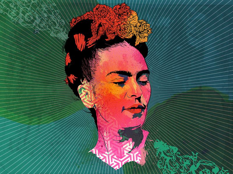 Frida vibrant colors patterns psychedelic portrait digital art graphic design photoshop illustration frida kahlo frida