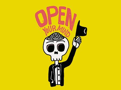 Open Your Mind cute art inspirational quote cute skull art skull vibrant colors procreate illustration