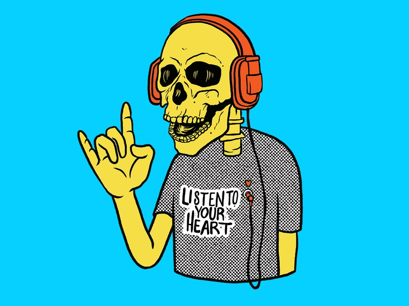 Listen To Your Heart digital art funny inspirational quote skull vibrant colors procreate illustration