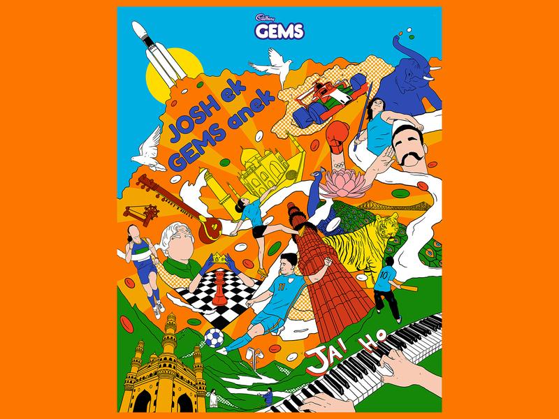 Illustrations for Cadbury Gems India indian gems taj mahal monument culture india advertisement brand 15august independenceday vibrant colors procreate illustration