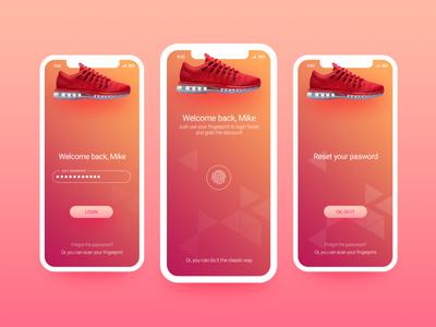 Fingerprint login screen for sport items store