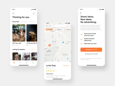 Pets App | Designflows 2020 designflows ui uidesign maps discover paywall animal competion contest bendingspoons app pet animals
