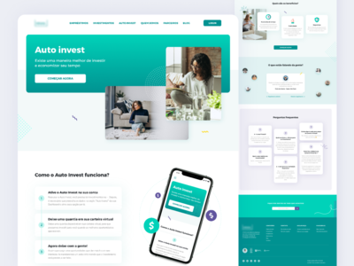 Auto Invest company brazilian desktop color patterns website landing page money invest loans fintech product web shot ux ui design