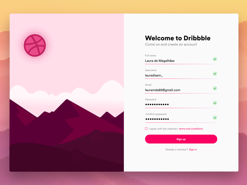 Hello Dribbble website web design welcome mountain redesign sign in form sign up ui illustration hello dribbble daily ui 001 daily ui logo icon typography