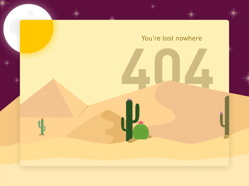 404 lost error 404 cactus moon sun challenge dunes desert sand shot vector dribbble web ux typography ui illustration design daily ui
