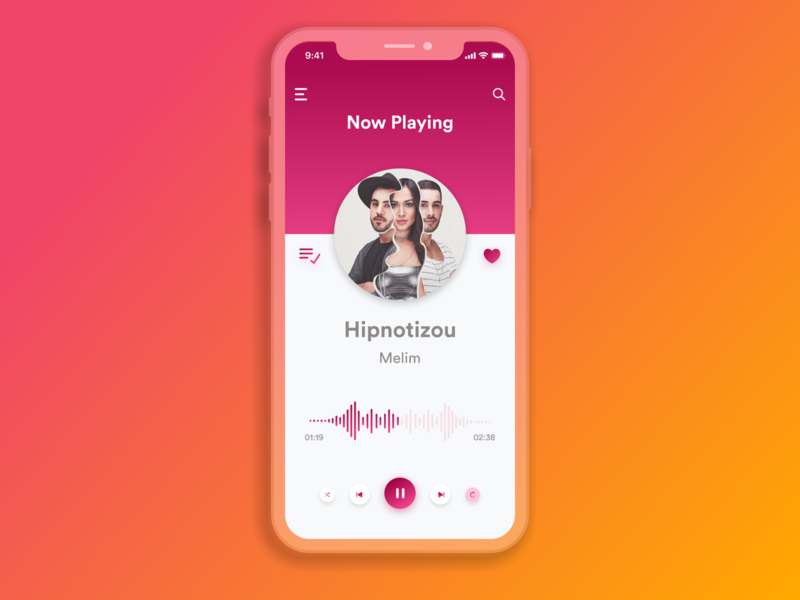 Music Player gradiant pink ios play pause player music shot btn app concept vector icon dribbble app web ux typography ui design daily ui