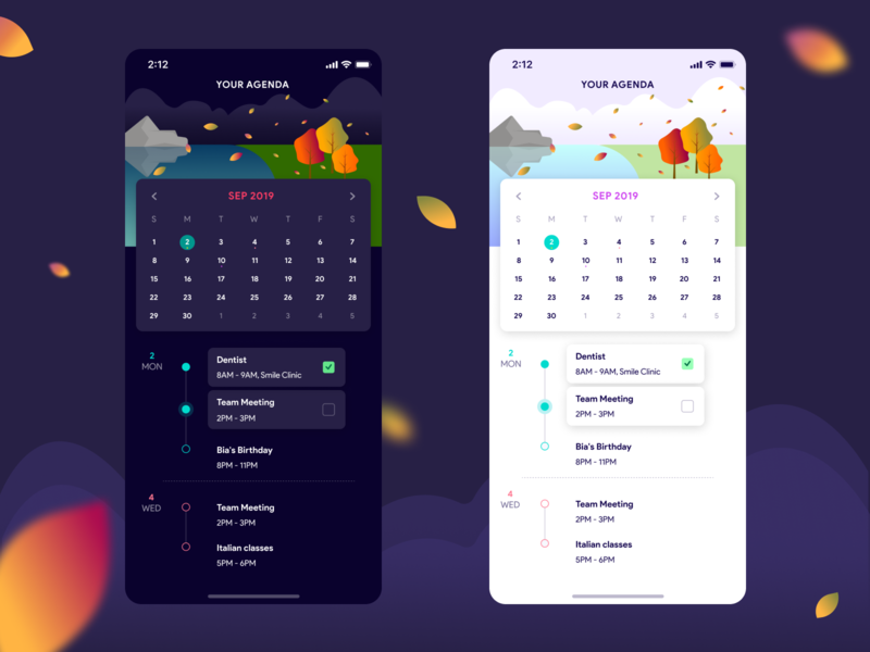 Agenda motion colors todo status card season fall design blur autumn agenda calendar dark light shot dribbble illustration app ux ui