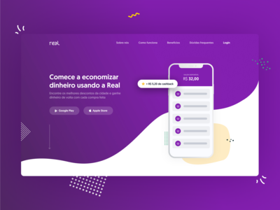 Real mockup pattern purple brazilian cashback money landing page branding shot web dribbble ux app ui design