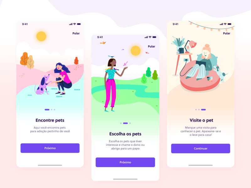 Adotaê test love adoption pets cta illustration shot ux app design ui