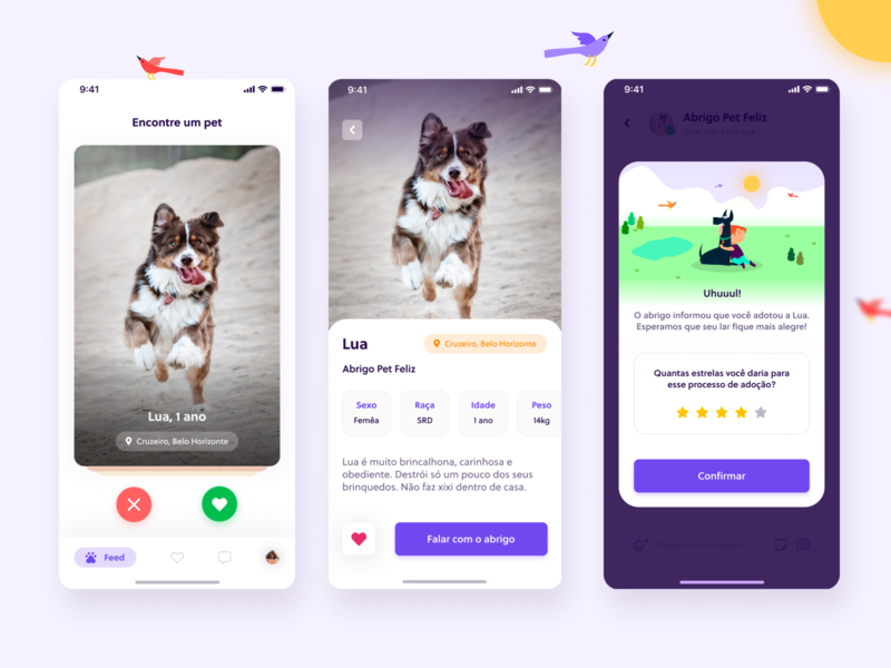 Adotaê template animals like tinder social mockup pet app design ux ui shot dribbble illustration