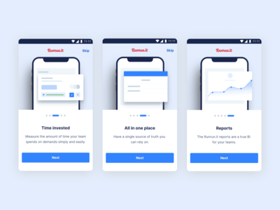 Runrun.it platform board timer branding illustration ux app design ui