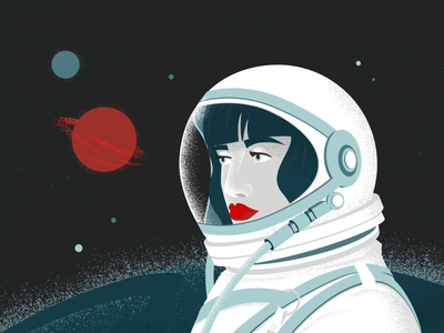 Lost in Space planets astronaut space retrosupplyco illustration