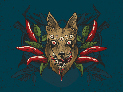 Hotter N' Hell spicy pepper hot sauce mythology eyeballs hellhound dog grave etcher etching engraving retro supply co brushes texture vectorart illustration