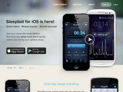 WIP SleepBot Splash Page app splash page web wip sleep bot sleepbot mobile mobile app website android ios