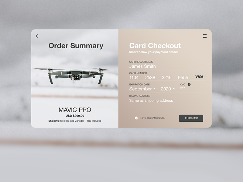 Daily UI Challenge #002 — Credit Card Checkout japan tokyo visa ux ui shopping purchase cart drone flat dailyui credit card checkout