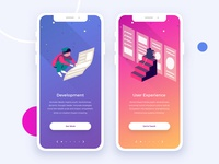 Onboarding Concept Exploration Part 2 onboarding visual design vector ux user interface ui tech navigation mobile landing illustration gradient design characters colorful bright app