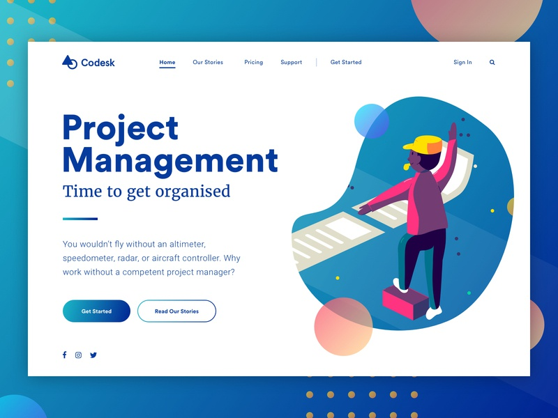 Landing page concept - Project Management web universe stars space galaxy visual design ux user interface ui landing gradient colorful bright vector illustration characters