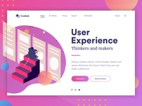 Landing page concept - User Experience user experience web universe stars space galaxy visual design ux user interface ui landing gradient colorful bright vector illustration characters