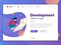 Landing page concept - User Experience web universe stars space galaxy visual design ux user interface ui landing gradient colorful bright vector illustration characters