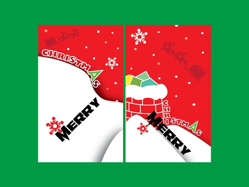 Xmas-postcard2 postcard design joy red elk santa claus snowing snow flake merry christmas
